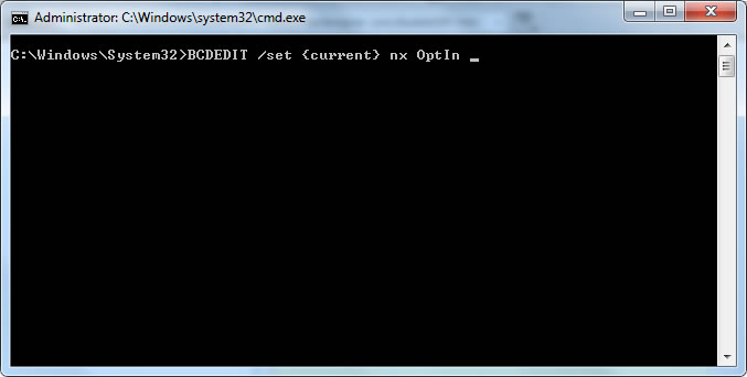 Change DEP with elevated Command Prompt
